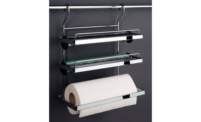 Kitchen Roll Holder 3 Tiers With Tear Off Edge For Aluminium Foil And Cling
