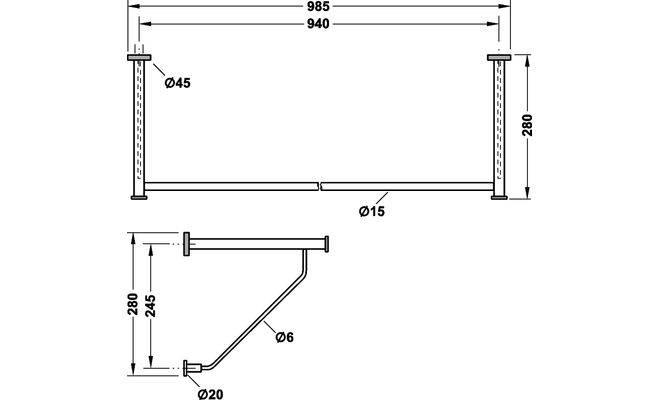 Вішак тримач для одягу нержавіюча сталь 985 x 280 мм - купити за ... 1eb74f615ea5b